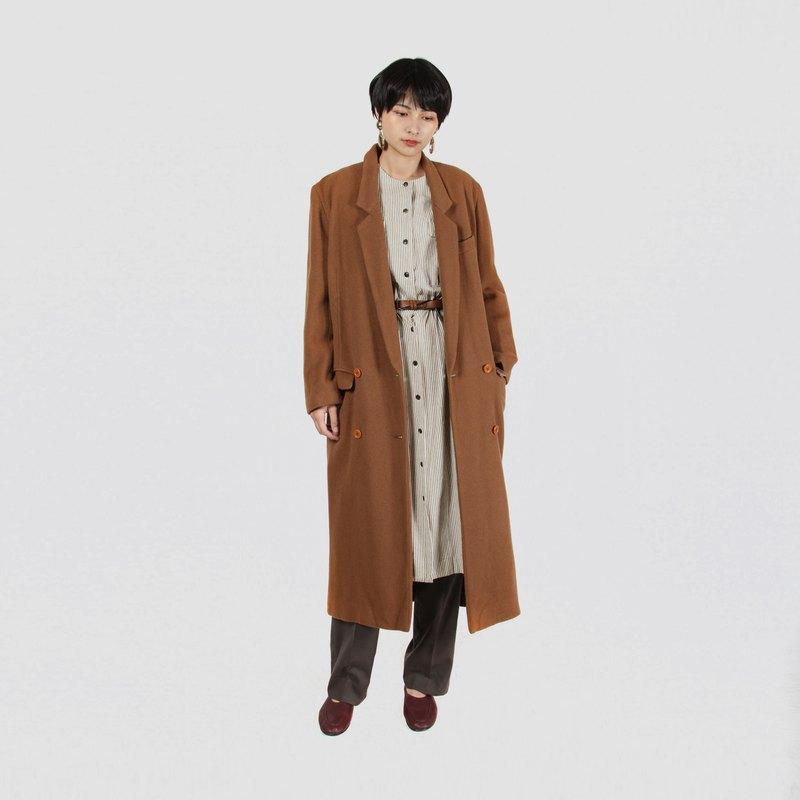 【蛋植物古著】淺焙焦糖長版毛料古著大衣