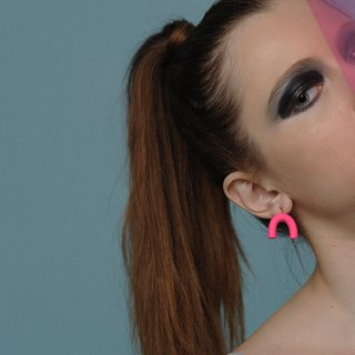 metooworkshop Great mini fluorescent pink earrings earrings