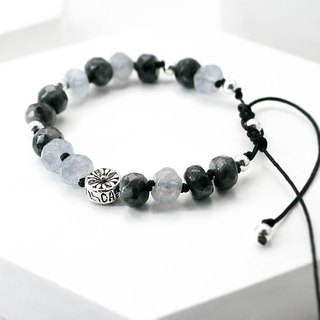 Classic color natural stone silver bracelet │ black and white 玥 unicorn black amphibole sea sapphire