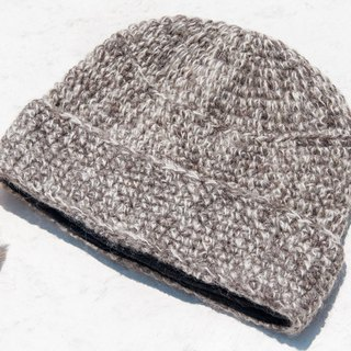 Hand-knitted pure wool cap / woven hat / knitted fur cap / inner brush hair hand-woven wool cap / wool cap - mixed gray