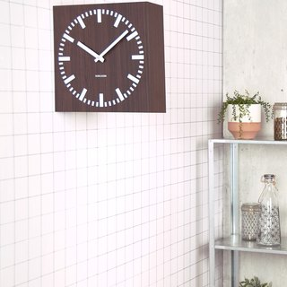 Karlsson, Wall clock Double Sided square MDF, PU dark wood