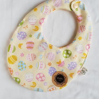 Chicken Painted Egg - Light Yellow - Eight Layers 100% Cotton Double Sided Egg Bib
