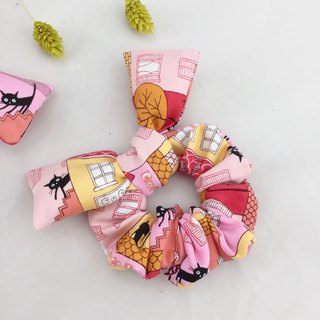 Pink City Black Cat - Donut Butterfly Hair Tie - Plus Butterfly Wings Cute Wrist Watch