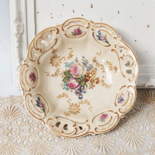 [Good day fetish] German antique ceramic flower hollow plate. Dessert plate.