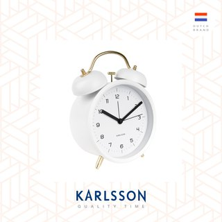 Karlsson, 經典打鈴鬧鐘大, 白色配金色配件Big Alarm clock Classic Bell white w. gold parts