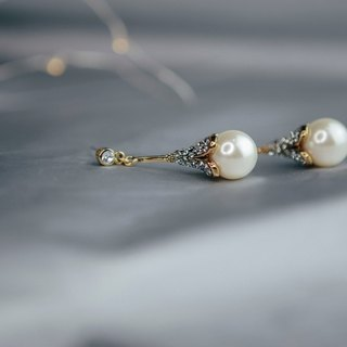 COR-DATE-Gorgeous years pearl diamond hanging earrings earrings -880