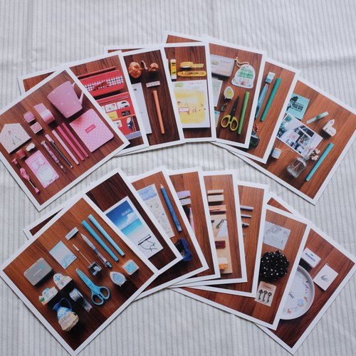 Page groceries stationery small objects color group photo