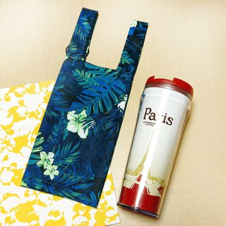 Tropical plant (Green)。Handmade reusable bag for drinks and anything