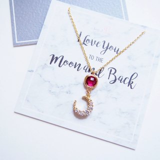 Romantic Moon & Gold Plated Edged Glass Gemstone Necklace Necklace (45cm Red) - I Love You to the Moon and Back