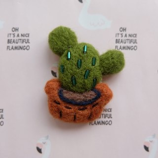 Sleeping original hand three drag round fairy cactus [flamingo in cactus and pineapple] brooch / fridge