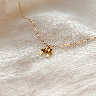 Golden bow- brass handmade necklace