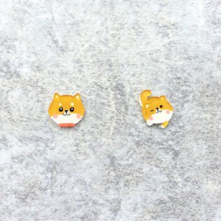 Pista hill hand-painted earrings / animal - Shiba Inu + body (in itching)