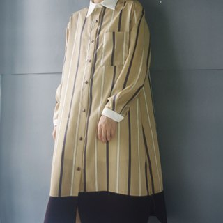 Design hand made - light khaki straight grain white collar long shirt dress