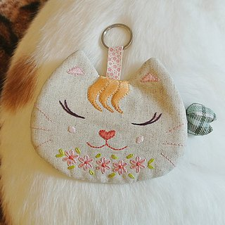 Contemplative の cat girl in flowers _ embroidery purse card sets