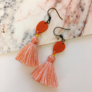 Orange x pink orange play color tassel ear hook / ear clip