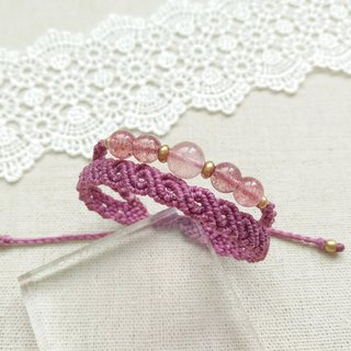 BUHO hand-made. Romantic purple. Strawberry Crystal X South American Brazilian Wax Line Bracelet