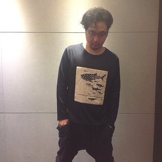 Design No.SH100 - 【Shark Diagram】Handmade Long Sleeve T-Shirts