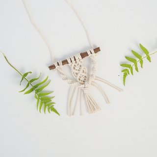 【 Macramé x Guava wood Collection 】Necklace │ Handwoven │ String of Diamond