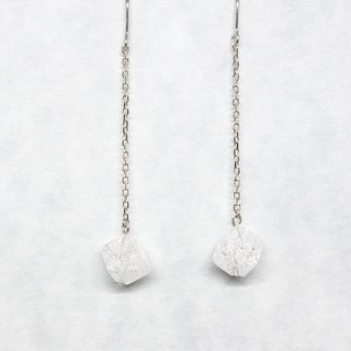 1 crystal with chain earrings【Pio by Parakee】自然水晶耳環