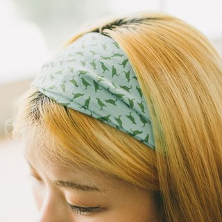 Wide Hair Bando / Crested Myna No.4 / Mint Green