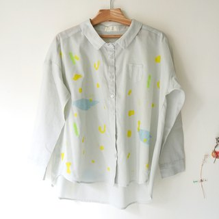Yinke II shirt new color - gray spring flower small pocket shirt
