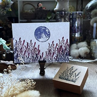 Hand- drawn stamp Waiting lavender