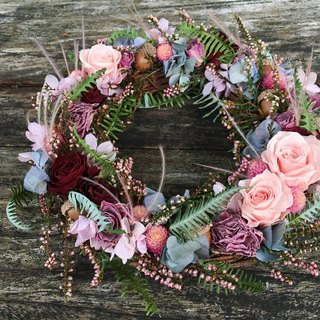 November floral course quiet pink purple wreath wreath without withered flowers