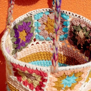 Valentine's Day gift limited to a hand-woven fabric basket / basket / hanging bag / nest knitting basket / flower woven basket - candy color sweet forest flowers weaving