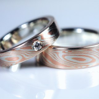 Element47 Jewelry studio~ Karat gold mokume gane wedding ring 19 (14KR/925/diamo