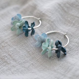ITS-303[Flower fairy series earrings] blue X mint green flower silver ring earrings / ear pin / ear clip