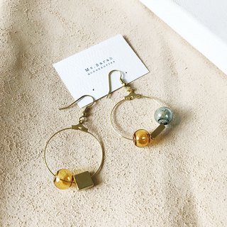 Glass Bubble_Brass Earrings_Weaver (can be changed)