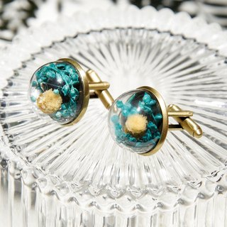 Valentine's Day gift / Department of Forestry / French metallic mouth-blown glass ball cufflinks - beige flowers with blue-green vines one pair of cufflinks
