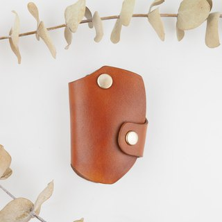 Car key set leather handmade brown