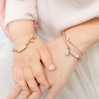[Parental Bracelet] Rose Powder Opal Happiness Happiness Parenting|Sister Double Chain Group Customization