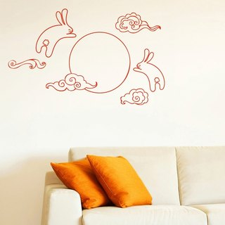 Smart Design Creative wall stickers Incognito ◆ Rabbit and the Moon (8 colors optional)