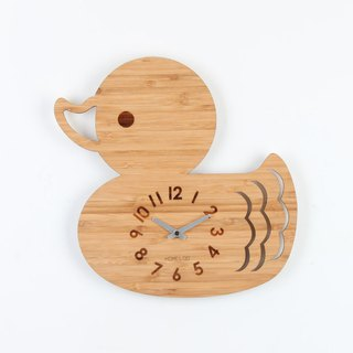 LOO Bamboo Wood Children Kids Animal Wall Clock Duck