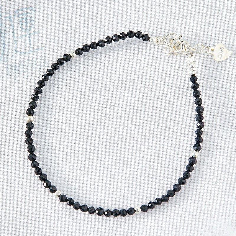 吸引異性天然白水晶黑尖晶氣質925純銀細手鍊(含開光)招桃花、增加女性氣息、提升正能量