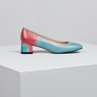 H THREE classic square heel shoes / water blue rose / gradient / pink beach / rough with / retro