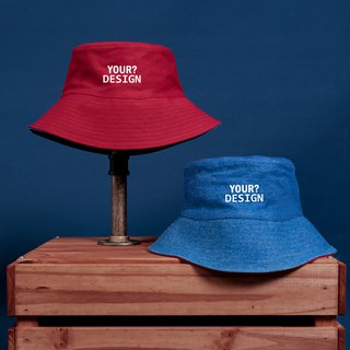 [Customized Valentine's Day Gift] Two-tone Fisherman Hat / Cowboy / Dark Red