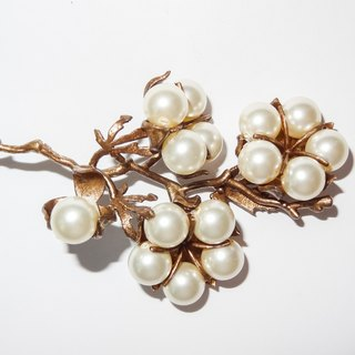 Cotton pearl pearl cotton brooch/pendent brown gold cotton pearl brooch pre-order