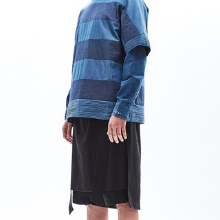 Patchwork stripe denim oversized tee