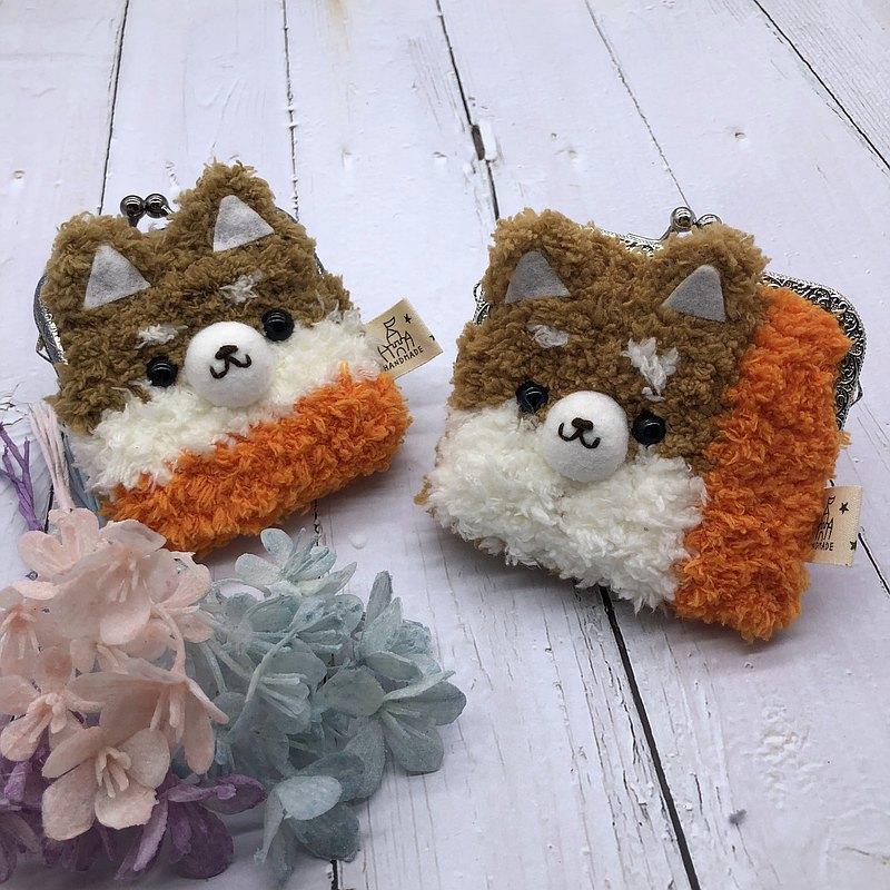 柴犬-毛線編織方塊口金包  零錢包 錢包