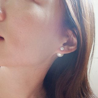 My Dear Pearl Earrings, Double sided pearl earrings, White CZ