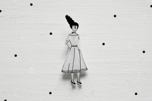 Miss Hairy Collection / Black and White Brooch / #002