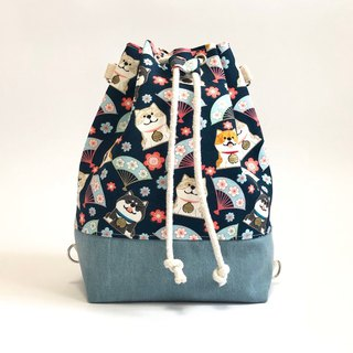 Chai Chai Blue Fan 3way Bundle Bucket Bag (Hand / Shoulder / Back)