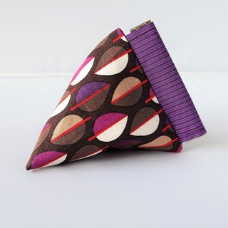 Triangle Snap Pouch (Purple Brown Leaves)