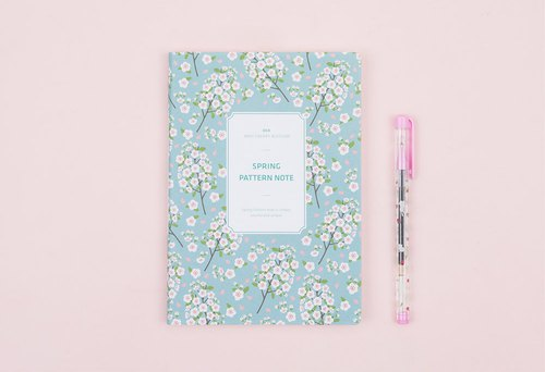 Spring Pattern Note Spring Flowers Notebook - mint cherry