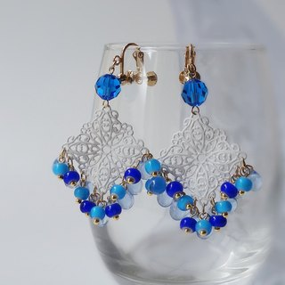 Capri blue and white watermark Earrings