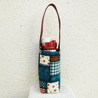 Floral plaid cowboy bottle bag / beverage bag