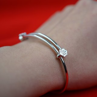 Changle Solid Silver Bracelet VISHI original 925 sterling silver push-pull regulation of their children's bracelet bracelet Chinese